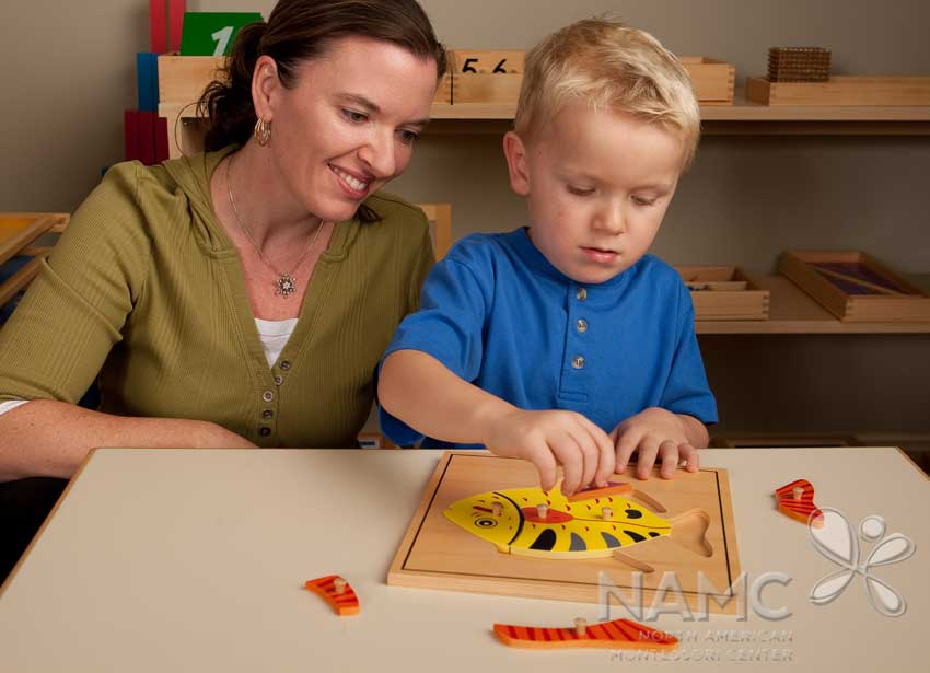 NAMC montessori challenging behaviour early childhood. teacher and boy using zoology puzzle
