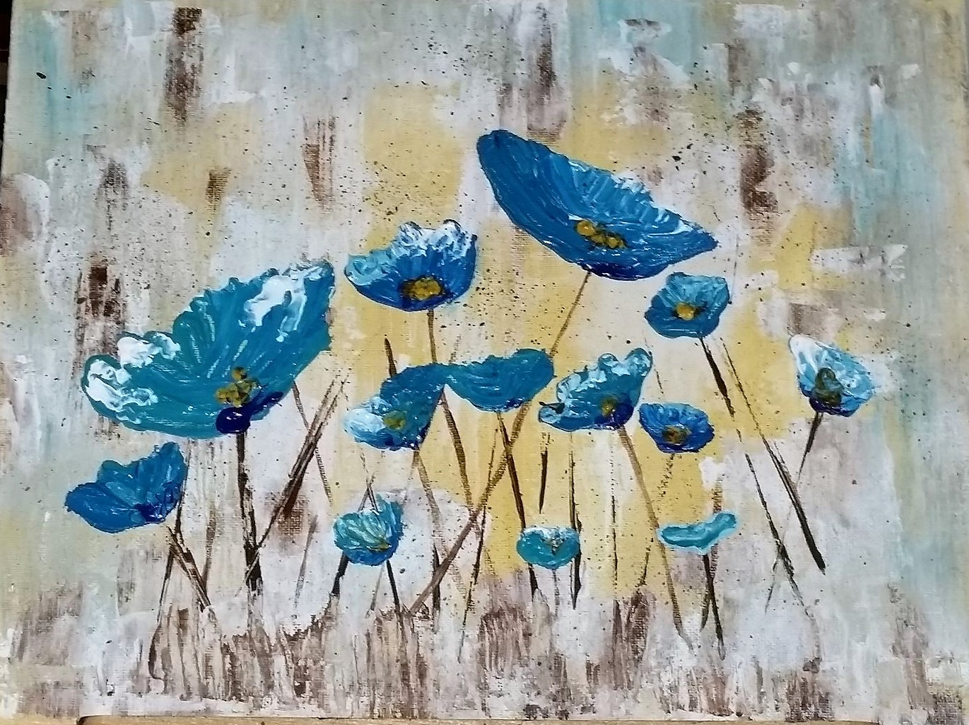 angela anderson art blog easy palette knife poppies