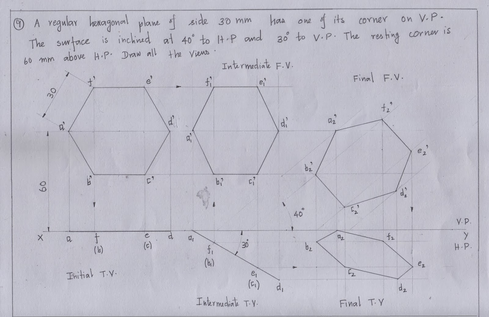engineering graphics for engineers projection of planes plane inclined to both hp and vp hexagon