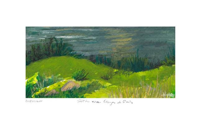Gouache Pleinair landscape painting Fine arts river