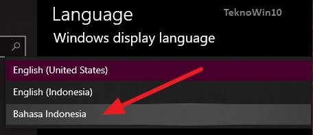 Settings Language Bahasa indonesia di Windows 10
