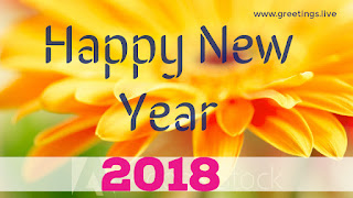 Image with yellow colored flowers new year 2018 Greeting