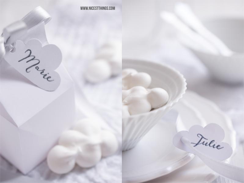 Diner en Blanc White Dinner Wolken Meringues Milchtüten basteln