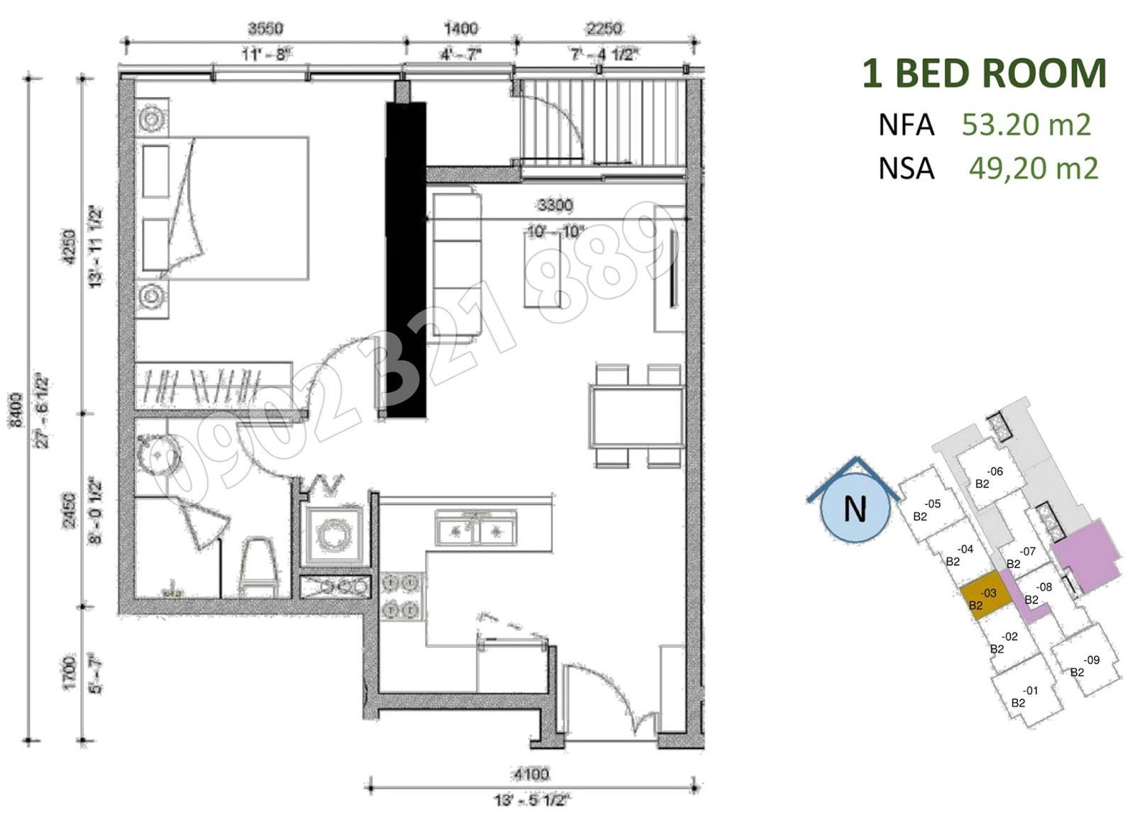 mặt bằng căn hộ sunwah pearl 1 phòng ngủ B2-03