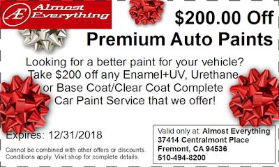 Discount Coupon $200 Off Premium Auto Paint Sale December 2018