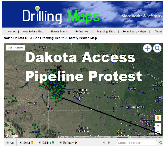 Map of Dakota Access Pipeline Protest & Pipeline Provided by DrillingMaps.com