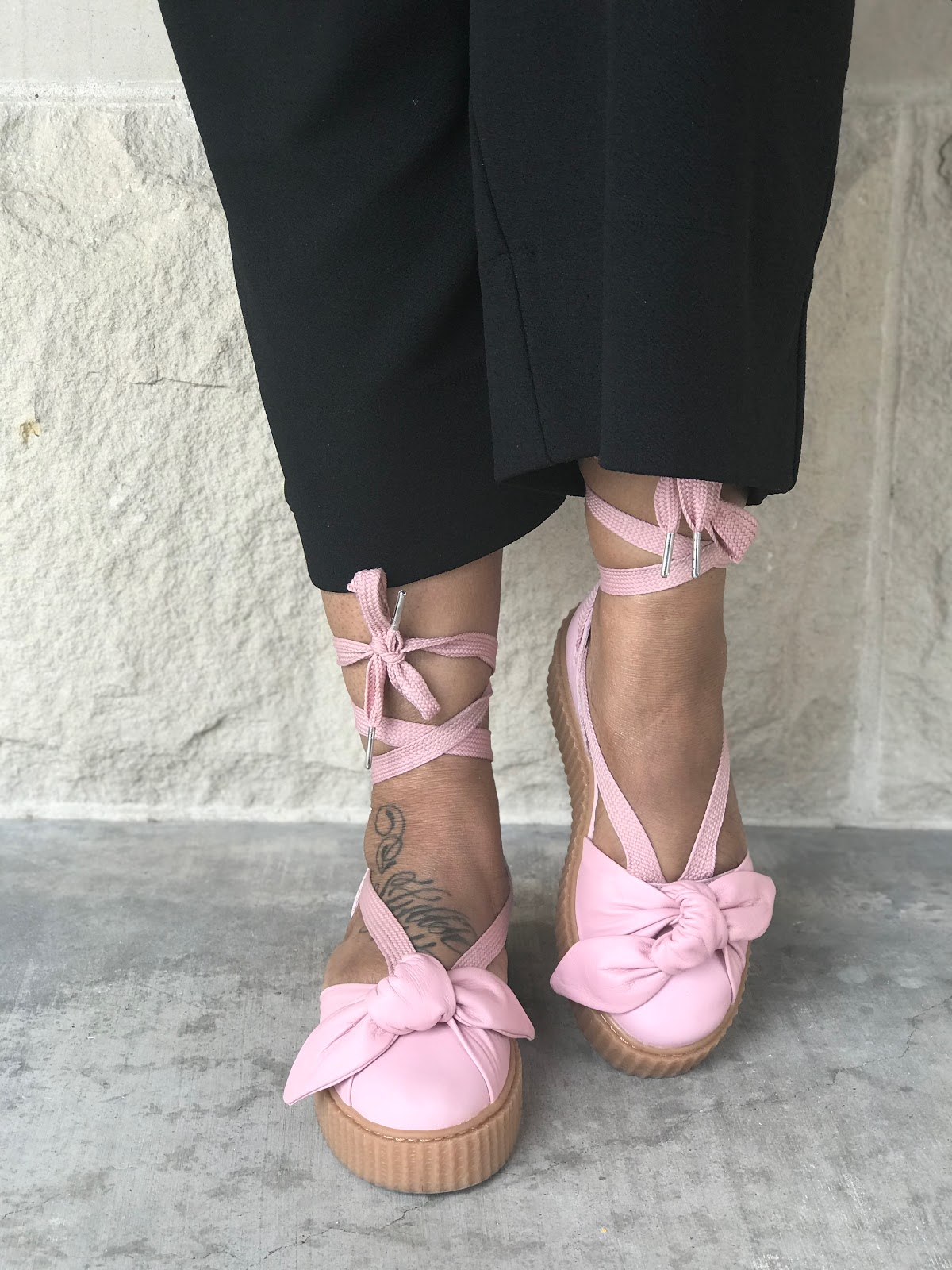 Image: Pink Puma Rihanna Creeper Shoes:Hey, guys here are a few things that have been dressing me up this summer. And, yes two items are out of my usual wear. But, hey who cares at my age I am playing up and down my style.