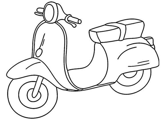 Tranh tô màu xe máy vespa