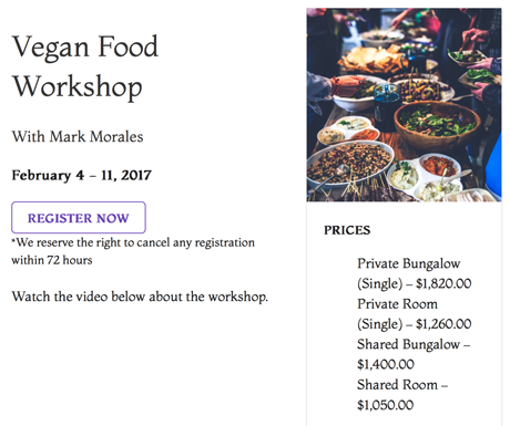 vegan food retreat 120416