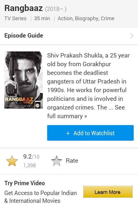 Rangbaaz Tv Series