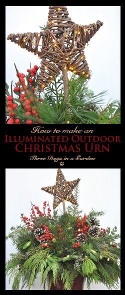 Illuminated Outdoor Christmas Urn