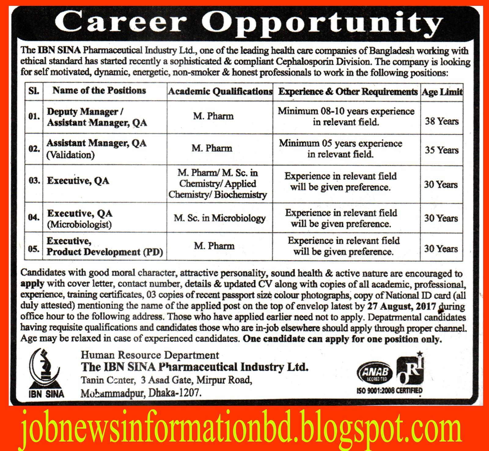 IBN SINA Pharmaceutical Industry Ltd. Job Circular 2017