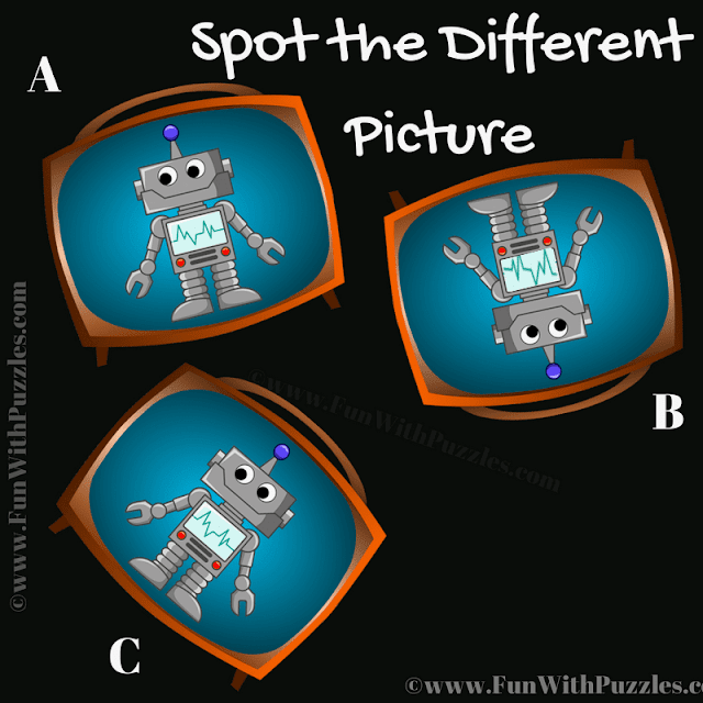 It is Picture Puzzle in which your have to spot which bot is different from other two bots