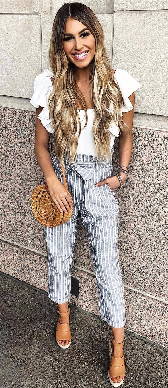 casual style addict / white blouse + round bag + striped pants + platform sandals