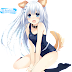 Tags: Render, Animal Ears, Barefoot, Date a Live, Feet, Full body, Inumimi, Long hair, Spread legs, Sukumizu, Swimsuit, Tobiichi Origami, Tsunako, White hair