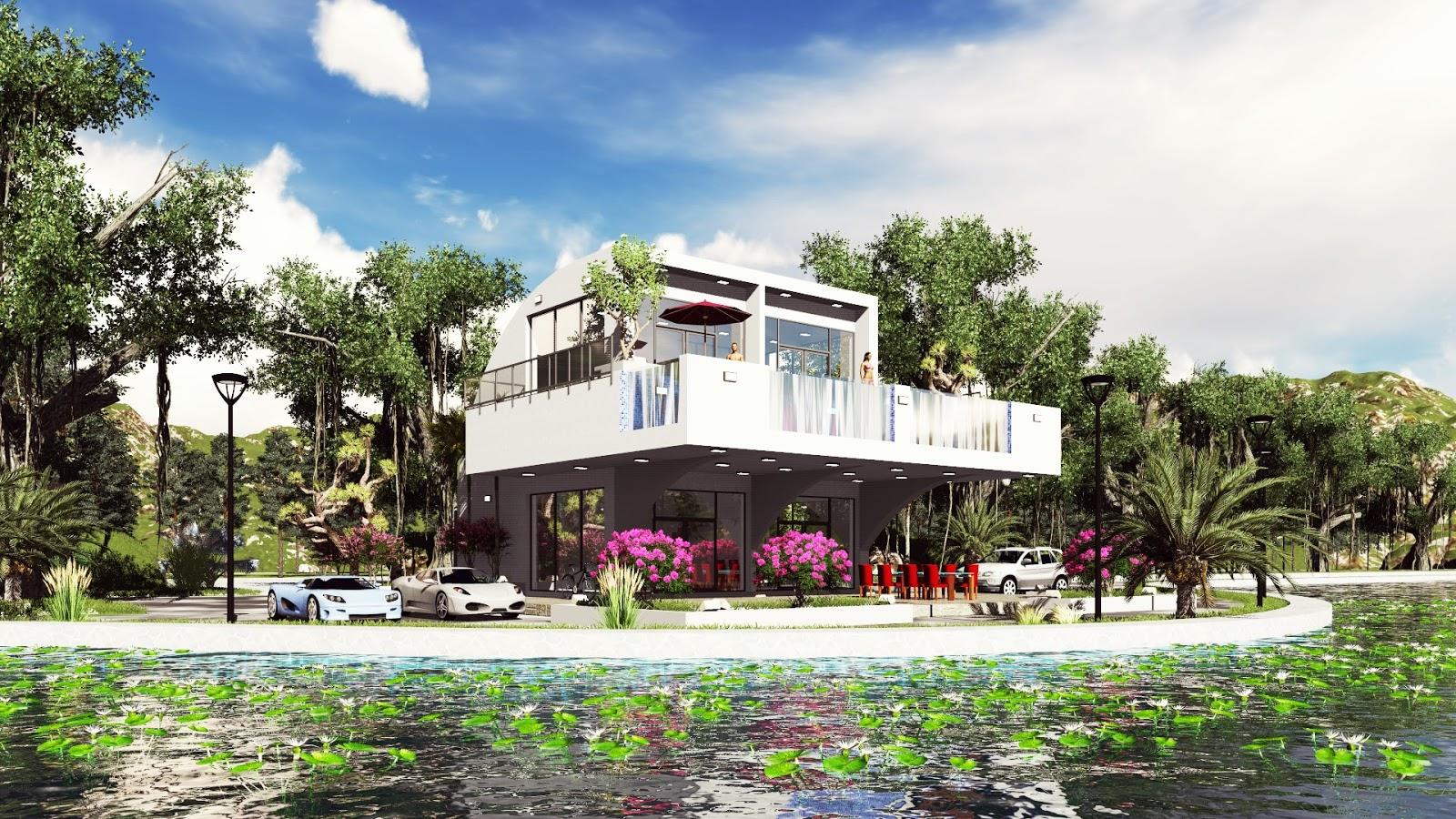 Sketchup modeling modern vila design 14 lumion render sam architect - Modern vila design ...