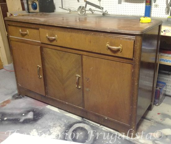 1940's Art Deco Waterfall Buffet Sideboard before