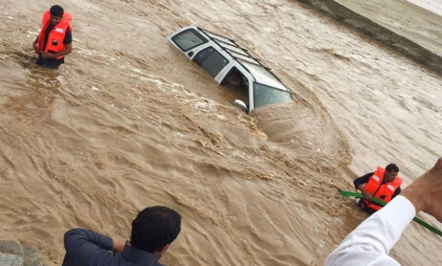 One died, one is missing, 10 injured while 280 were rescued in the severe flooding in Asir Region of Saudi Arabia.  Arab News reported that the Saudi Arabian Civil Defense confirmed that they received more than 900 emergency calls due to flooding from southern cities of Abha and Khamis Mushayt.
