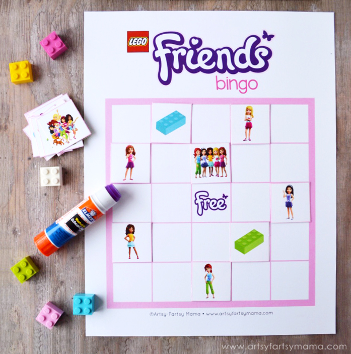 Free Printable LEGO Friends Bingo at artsyfartsymama.com