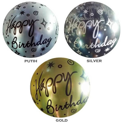 Balon Latex Metalik Printing HAPPY BIRTHDAY