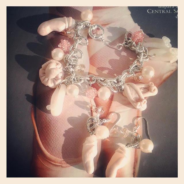 Braccialetto e orecchini Danza in Fimo