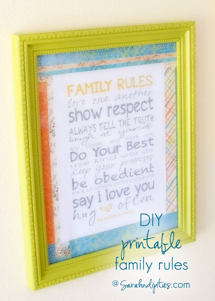 Sarahndipities ~ fortunate handmade finds: Things to Make: DIY Printable Family Rules