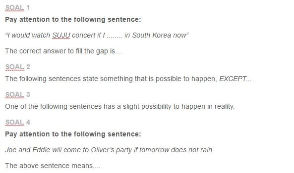 Contoh Soal Conditional Sentences Type 1 2 3 Ezy Blog