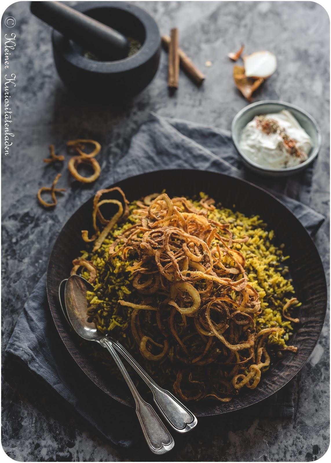 Mejadra ~ Arabischer Reis mit Linsen und frittierten Zwiebeln