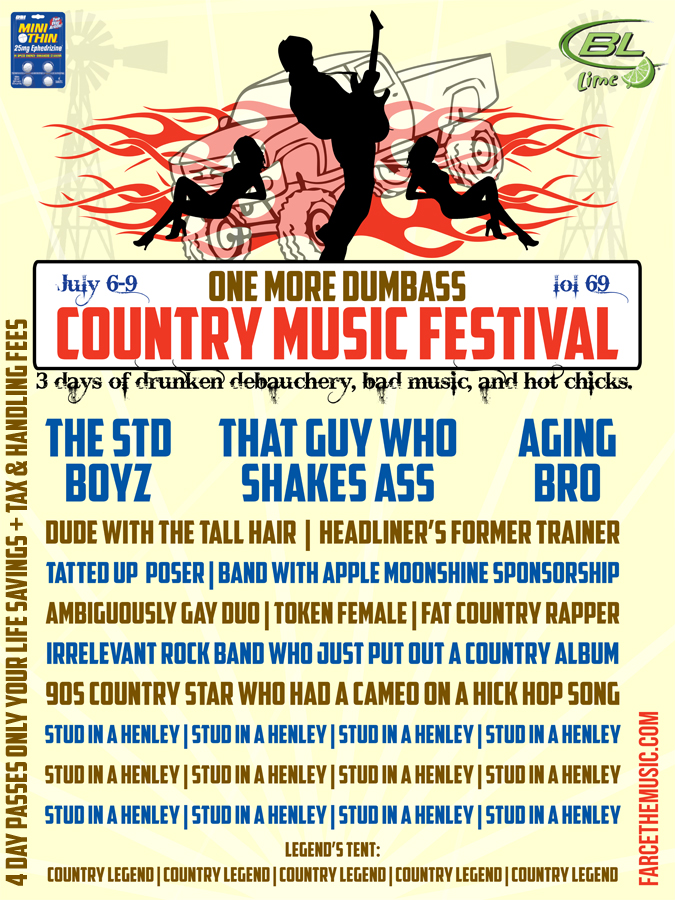 Farce the music every country music festival for Farcical satire