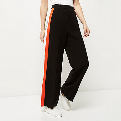 River island black stripe wide leg trousers