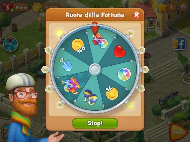 Gardenscapes guida italiana alla app ruota della fortuna