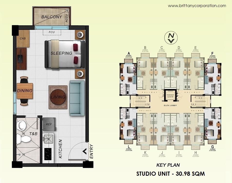 Floor Plan of Alpine Villas at Crosswinds - Studio Unit 30.98 Sqm | Studio Unit 30.98 SQM Condominium Unit for Sale Tagaytay