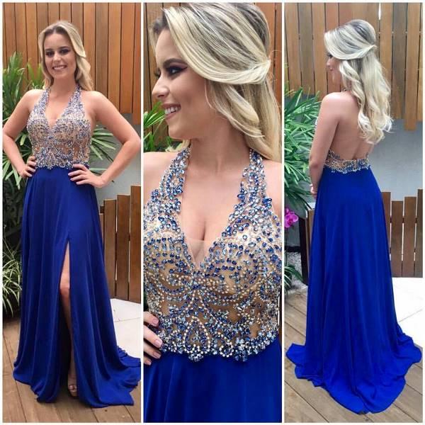 Vestido longo azul klein