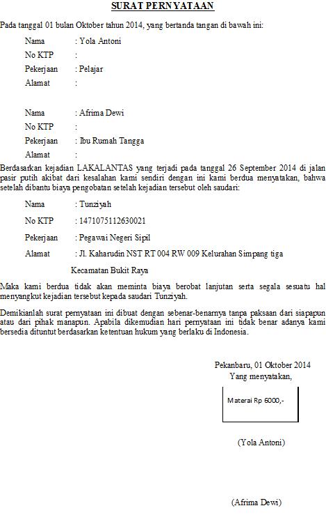 Contoh Surat Pernyataan Lakalantas Otoritas Semu