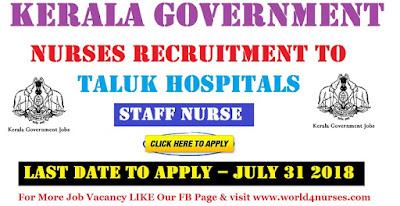 Kerala Government Nurses Recruitment to Taluk Hospitals