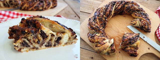 Corona de masa de pizza rellena con morcilla y pera, bacon, anacardos, queso emmental y aderezada con mostaza a la miel