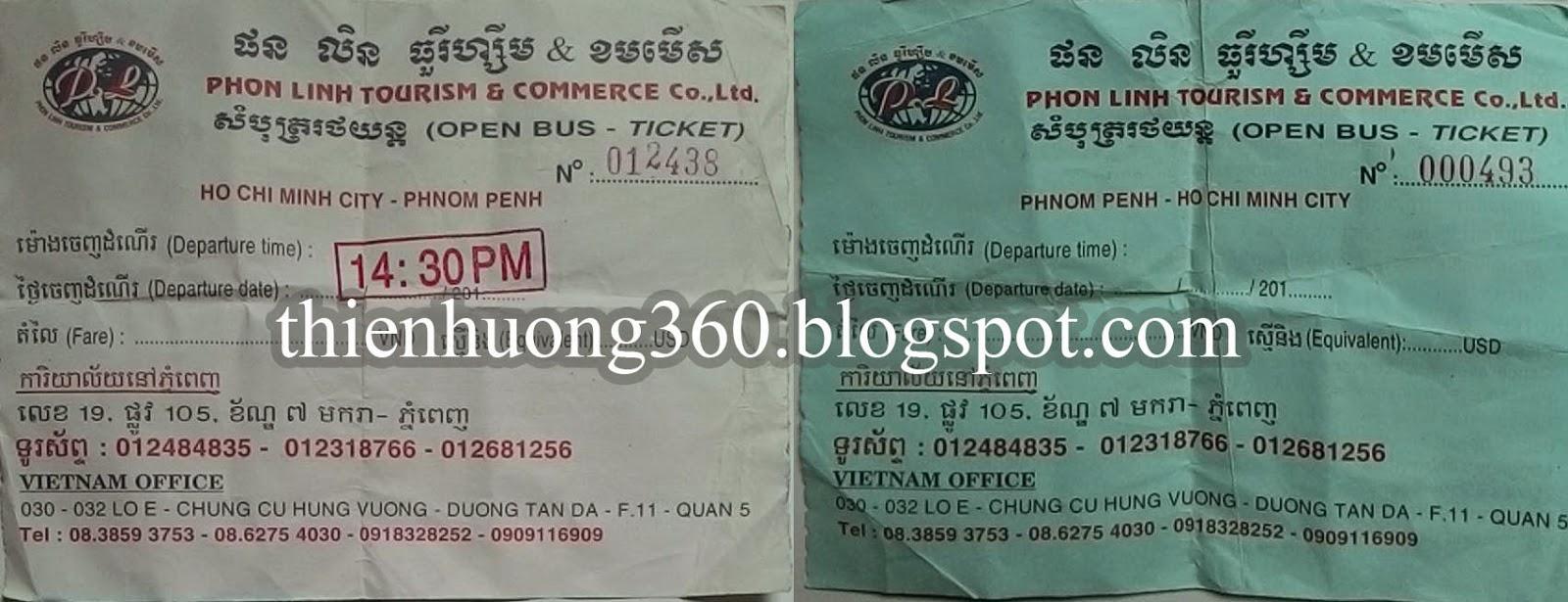 Vé xe Phon Linh từ Hồ Chí Minh sang Phnompenh