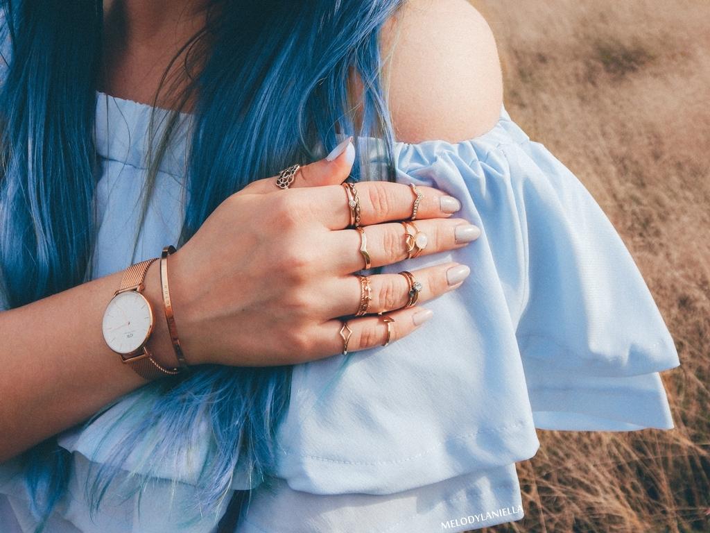1 daniel wellington ootd lookbook fashion blogger modowe blogerki z łodzi melodylaniella blue hair niebieskie włosy baby blue hiszpanka venita błękitna sukienka stylizacja outfit modna polka pastel hair