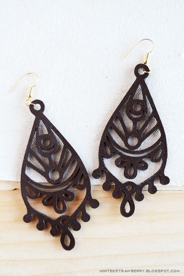 coloring book style leather earrings mandala