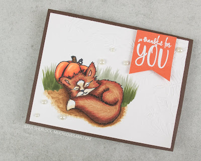 This adorable little fox from Photoplay Paper's Fall Breeze collection, was colored with Copic markers.  Created by Sara Sherlock | Muchlovesara.com