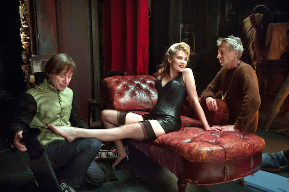 Emmanuelle Seigner wearing corsetorium leather corset commission for venus in fur movie by roman polanski Paris