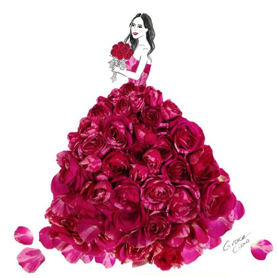 Grace Ciao ilustrações fashion com flores como vestidos coloridos mulheres