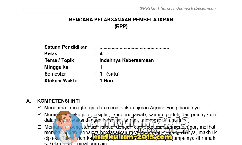 RPP K13 SD Kelas 4 Semester I - Berbagai Pekerjaan