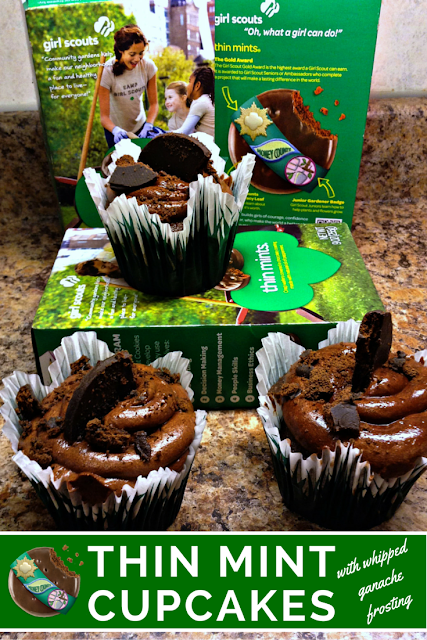 Girl Scout Thin Mints chocolate cupcake with whipped ganache frosting #recipe #cupcake #baking