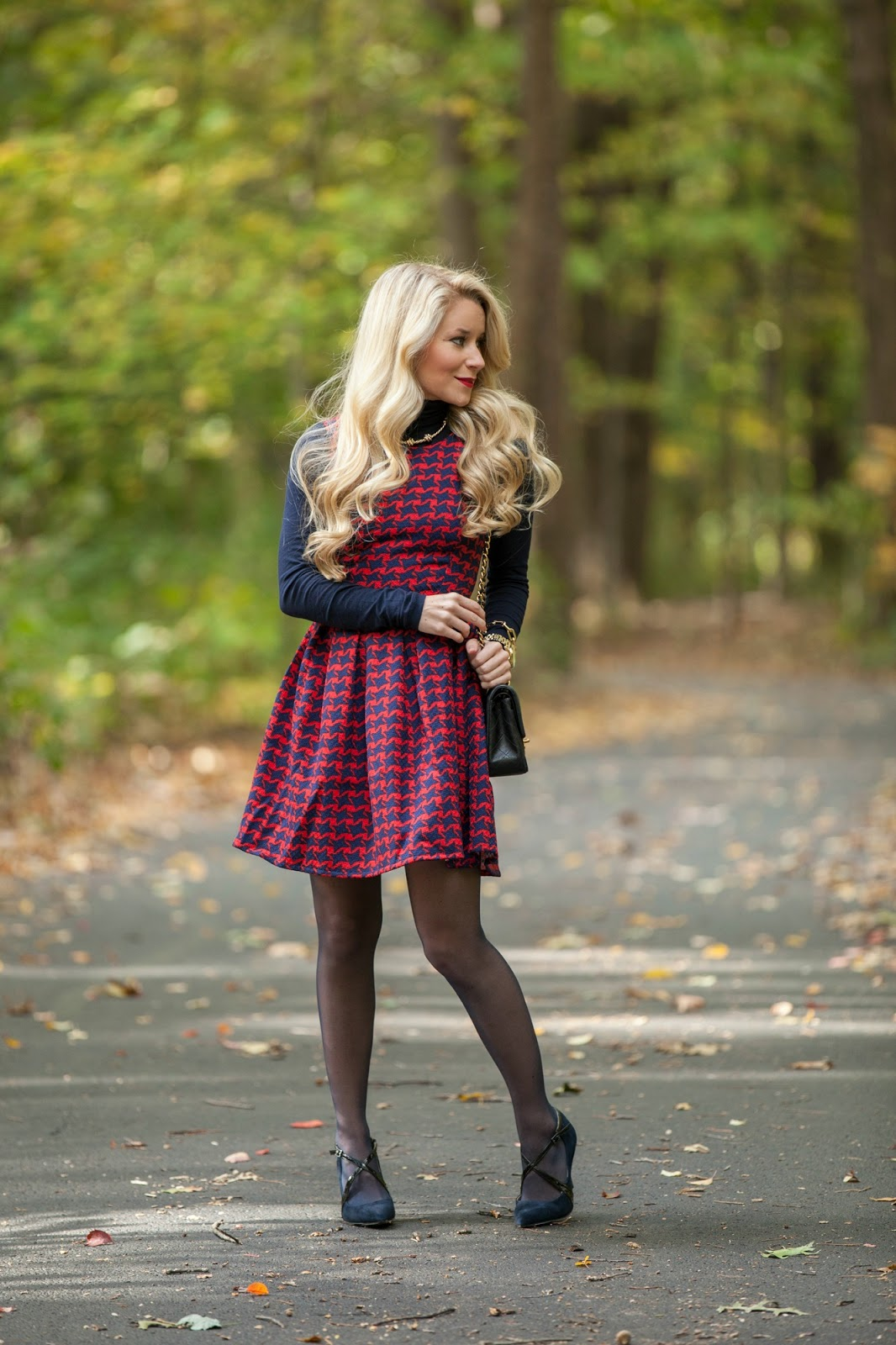 Red Amp Navy Houndstooth Dress Welcome To Olivia Rink