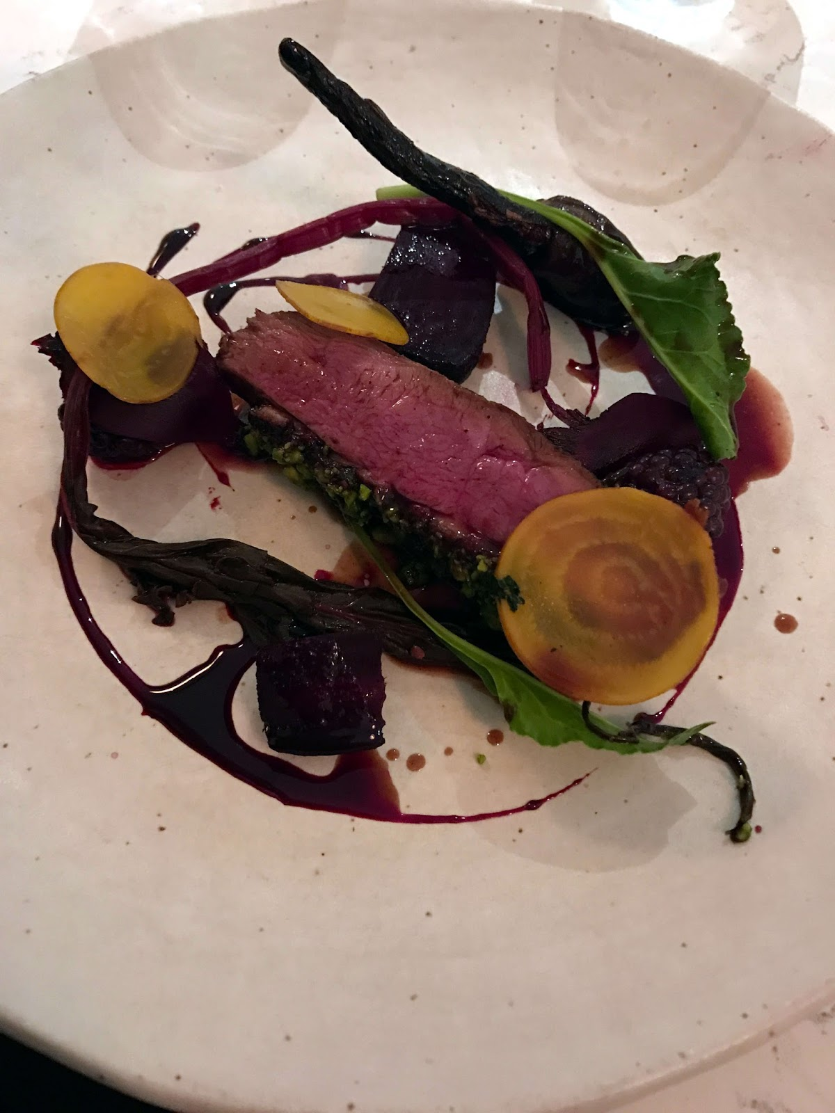 Stitch & Bear - Forest & Marcy - Glazed duck with beetroot, blackberry and pistachio