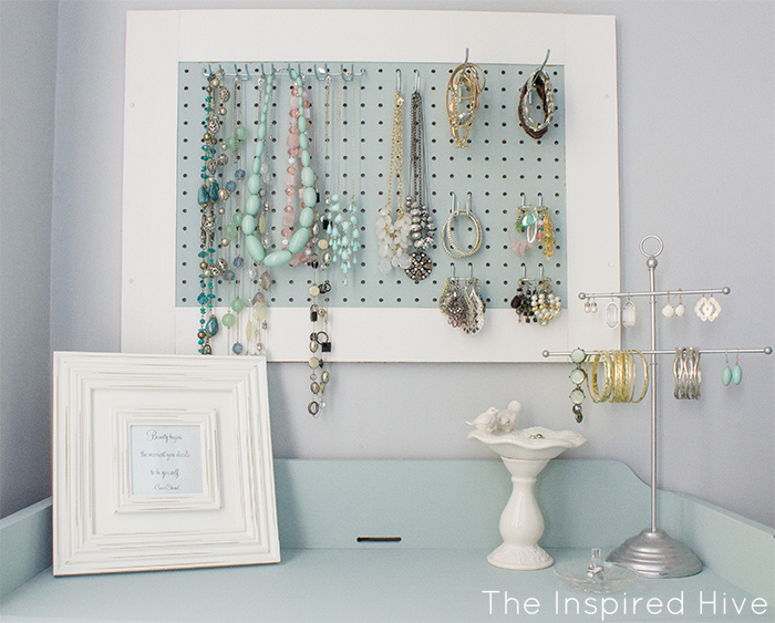 DIY Pegboard jewelry storage. Great idea!