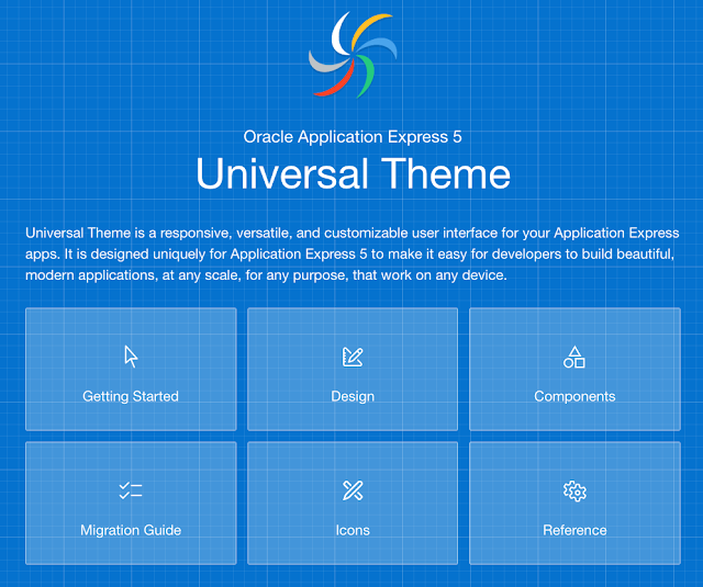 Screenshot showing Universal Theme Sample Application, available in your workspace via Packaged Apps > Sample