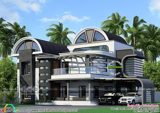 Half round roof unique Kerala home design
