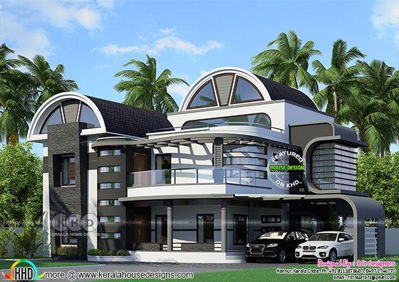 Half round roof unique Kerala home design